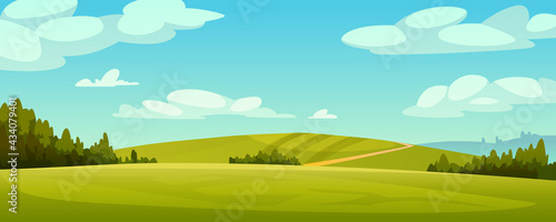 Fotografia Green fields landscape, rural hills, pasture grass, meadows and trees, blue sky on background