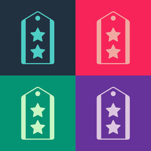 Pop Art Military Rank Icon Isolated On Color Background. Military Badge Sign. Vector