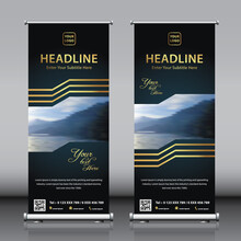 Roll Up Banner Design Template Set With Golden Lines And Dark Background. Title, Image, Description,  QR Code And Contact Details.