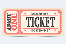 Red Retro Tickets. Vintage. Old Style. Classic Vintage Retro Ticket For Movies Parties, Cinema, Theatre, Circus And Other Events.