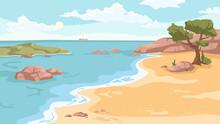 Seashore Landscape Background In Flat Cartoon. Vector Sea Beach With Exotic Green Trees, Rocky Cliffs, Ship Yacht On Horizon. Paradise Island Vacation At Ocean. Nature Scenery, Sandy Coast And Rocks