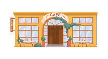Street Cafe, Coffee Shop Isolated Flat Cartoon Building Facade Exterior. Vector Summer Restaurant With Tables Chairs Outdoors, Tasty Food Snacks. Small European French Cafeteria, Town Architecture