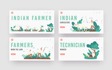 Indian Farmer Landing Page Template Set. Rural Men Characters In Traditional Clothes Plowing Field By Cow, Planting