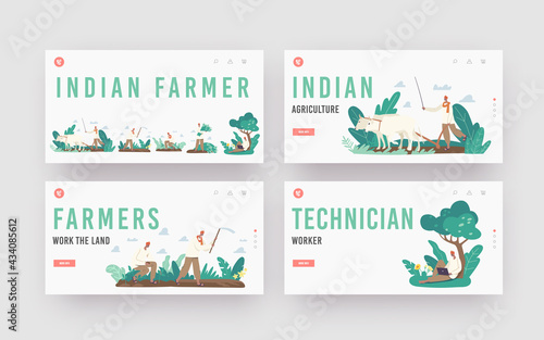 Indian Farmer Landing Page Template Set. Rural Men Characters in Traditional Clothes Plowing Field by Cow, Planting - fototapety na wymiar