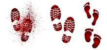 Bloody Foot Print. Dead, Blood, Horror And Dirty Red Footstep For Halloween Party Flat Vector Pictogram. Scary Elements With Stain, Splatter And Streams. Bleeding Baby Feet.