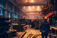 Industrial Interior Metallurgical Factory Foundry Inside, Heavy Industry, Large Workshop Metalwork Manufacturing, Iron Casting In Molds.
