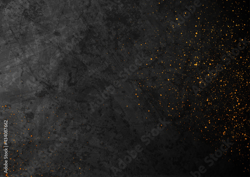 Black grunge texture background with small golden particles. Abstract retro vector design