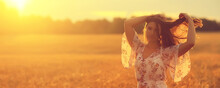 Field Wheat Sunset Girl, Summer Landscape, Outdoor Activity Concept Abstract Freedom Woman