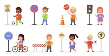 Kids Traffic Rules. Safety Road Movement, Young Pedestrians With Signs, Childish Educational Scenes, Forbidding, Boys And Girls With Warning Signals. Crosswalk Regulatory Vector Set