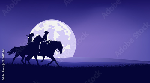 Fotografía cowboy and cowgirl riding horse in prairie against full moon - romantic legend w