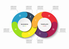 Infographic Cycle Diagram. Process Chart For Business Infographics With 8 Steps, Parts, Options. Vector Template For Presentation, Report, Brochure, Web Design.