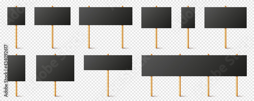 Fényképezés Blank black protest signs with wooden holder