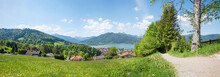 Hiking Above Spa Town Tegernsee, View To The Lake, Spring Landscape Upper Bavaria