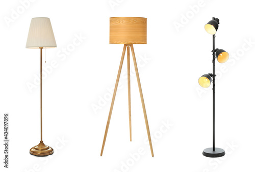 Fotografia, Obraz Set with different stylish floor lamps on white background