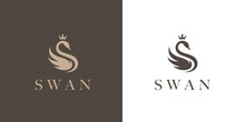 Elegant Swan Logo Icon With Royal Crown. Luxury Cosmetic Brand Template. Vector Illustration.