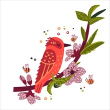Cute Summer Bird Sitting On A Branch With Peach Flowers Doodle Hand Drawn Style. Design Of Children's Clothing, Postcards, Screensavers. Vector Illustration Isolated On White Background