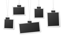 Frames Hang On Clips. Photo Frame Hanging, Photos Clothespin And Rope. Retro Blank Templates For Photography, Memory Image Recent Vector Concept