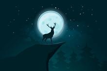 Deer Stands Rock Moonlit Night Illustration