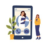 Medical help online. Doctor phone app, telemedicine. Psychotherapy consulting, therapist help woman remote vector concept - 434102289