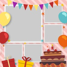 Flat Birthday Collage Frames Collection 2 Illustration And Design