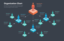 Company Organization Chart Template With Place For Your Content - Dark Version. Easy To Use For Your Website Or Presentation.