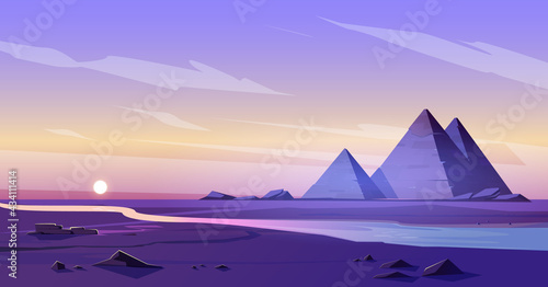 Egypt Pyramids Nile River Dusk Fototapeta