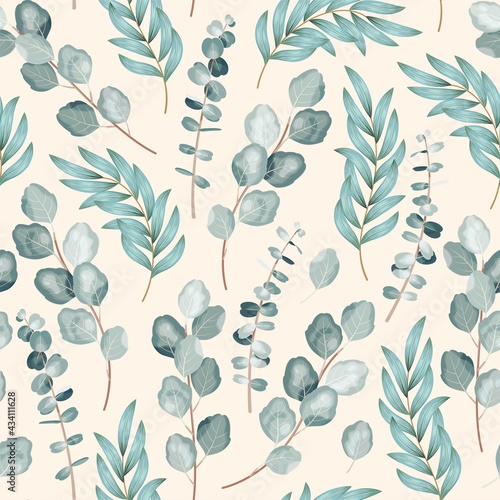 Vector seamless pattern with branch of eucalyptus Fototapet