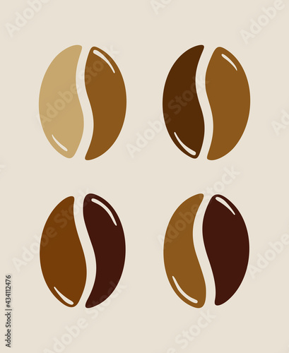 Fotografering Group of roasted coffee beans, caffeine symbol