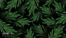 Natural Realistic Pattern. Colorful Leaves Background. Trendy Repeat Texture For Fashion Print Wallpaper Or Fabric. Cute Vector.