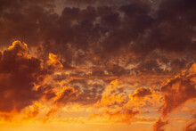 Wallpaper Of Red And Yellow Sunset Sky And Clouds.