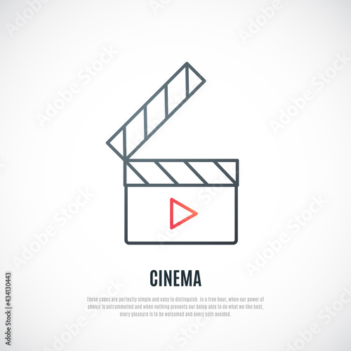Fotografía Clapboard line icon isolated on white background