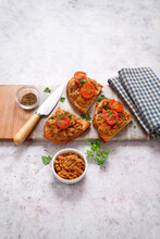 Crispy Bread With Lentil Mousse Tomatoes And Caprino Cheese (ph. Marianna Franchi)