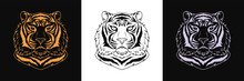 Gold, Black And Silver Tiger Head, Set Of Isolated Outline Tiger Face