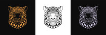 Gold, Black And Silver Jaguar Head, Set Of Isolated Outline Jaguar Face. Spotted Panther, Predatory Wildcat