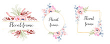 Set Of Watercolor Floral Frame Bouquets Of Pink Flower With Burgundy Leaves