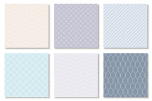 Collection Of Seamless Geometric Minimalistic Patterns - Delicate Design. Vector Colorful Trendy Endless Backgrounds, Cards