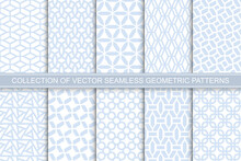 Collection Of Seamless Ornametal Delicate Geometric Patterns - Blue And White Symmetric Textures. Vector Repeatable Backgrounds