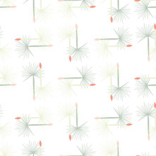 Hand Drawn Seamless Doodle Pattern With Blue Colored Dandelion Shapes. White Background.
