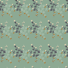 Vintage Seamless Pattern With Doodle Blossom Ornament. Turquoise And Green Pastel Background Palette.