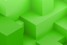 Abstract Green Geometric Cubic Dark Color Background. Isometric 3d Render.