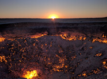 Darvaza Gas Crater, Also Known As The Door To Hell In Turkmenistan. (Coordinates 40°15′09″N 58°26′23″E)