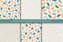 Collection Of Vector Seamless Colorful Patterns - Vintage Design. Trendy Delicate Textile Backgrounds. Simple Unusual Prints