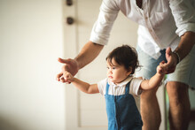 Family Of Child Baby And Father, Man Parent Raising And Playing With Son, Home, Adult Father And A Little Boy Person Are Happy At Home, Cheerful Childhood Lifestyle Together