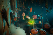 Young Witch Conjures During Halloween At Home