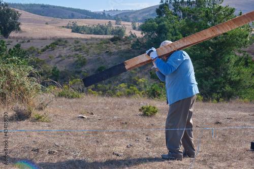 Slika na platnu Elderly villager man carrying a wooden plank