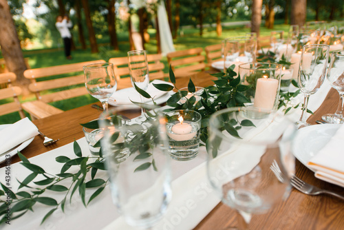 setting a wedding banquet in the forest Fototapeta