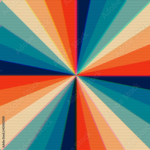 Fototapeta A regular radial pattern of stripes (rays) of varying colors (faux leather palette from 1970s illustrations), with scanlines as in a distorted tv transmission