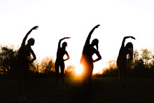 Low Angle Of Silhouettes Of Anonymous Female Athletes Doing Side Bend Exercise While Stretching Together In Park On Background Of Sunset Sky