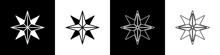 Set Wind Rose Icon Isolated On Black And White Background. Compass Icon For Travel. Navigation Design. Vector