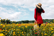 Back View Anonymous Trendy Female In Red Sundress And Handbag Standing On Blossoming Field With Yellow And Red Flowers And Touching Hat On Warm Summer Day
